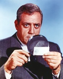 Raymond Burr in Formal Outfit with Magnifying Glasses Portrait
