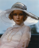 Mia Farrow wearing White Dress with Hat Portrait
