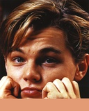 Leonardo Dicaprio Close Up Portrait with Both Hands on Chin