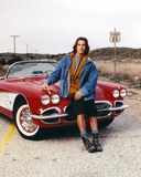 Route 66 Posed on Car in Blue Long Sleeves Jeans