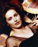 Kim Delaney Lying in Black Dress Close Up Portrait
