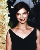 Jeanne Tripplehorn Posed in Black V-Neck Strap Dress