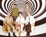 Time Tunnel Group Portrait in Black and White Swirl Background