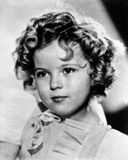 Shirley Temple wearing a Cap-Sleeve White Dress in Close Up Portrait