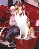 Lassie Portrait with A Boy posed on Red Car