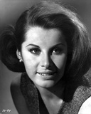 Stefanie Powers smiling and Looking Away in Black and White Close Up Portrait