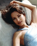Susan Lucci Pose in Blue Glossy Dress