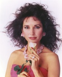 Susan Lucci in a Pink Tube Dress with Necklace and Flower