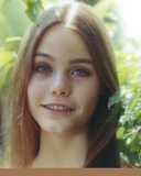 Susan Dey smiling smiling with Leaves on Background