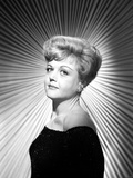 Angela Lansbury on an Off-Shoulder Dress and posed