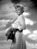 Angela Lansbury Looking Away wearing a Checkered Dress Holding a Hat