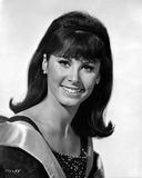 Stefanie Powers smiling in Black and White Portrait wearing Black Glitter Dress