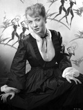 Audrey Totter Pose in Black Long Fluffy Dress
