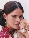 Ali MacGraw Posed in Red Dress with Kitten