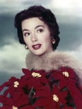 Close Up Portrait of Barbara Rush wearing in Red Flower Dress