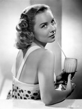Diana Lynn Drinking in White Dotted Dress