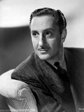 Basil Rathbone Looking Sideways in Black and White Portrait