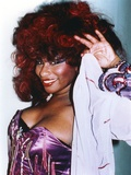 Chaka Khan Pose in Lingerie with Coat