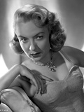 Audrey Totter Posed in White Gown with Silver Necklace
