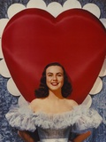 Deanna Durbin smiling in Lace Gown Heart Background