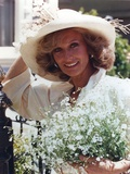 Cloris Leachman in White Dress and Hat