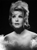Arlene Dahl Portrait Elegant Dress with Silver Earrings
