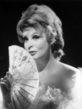 Arlene Dahl posed in Furry Dress with Fan