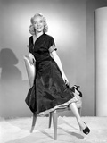 Audrey Totter posed on Chair with Black Dress