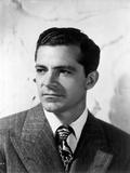 Dana Andrews Portrait in Striped Coat with Tie in Black and White