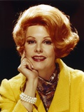 Arlene Dahl in Yellow Coat Black Background Close Up Portrait