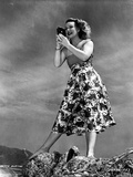 Betty Hutton on a Printed Skirt with Camera