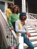 Bee Gees Band Group Picture standing on the White Staircase in Green  Yellow and White Long Sleeves