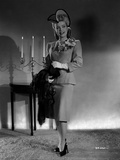 Gloria DeHaven posed in Formal Outfit With Scarf On Her Hand