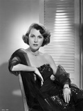 Frances Dee posed in Black Dress On A Couch in Black and White