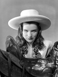 Ella Raines Looking Serious in Cowgirl Outfit