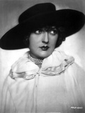 Bebe Daniels Portrait in Black Brim Hat and White Linen Dress