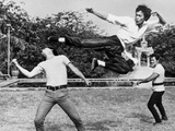 Bruce Lee Floating and Kicking a Man