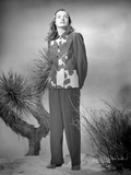 Ella Raines on a Printed Top and Long Sleeve