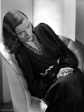 Ella Raines Seated in Black and White with Robe