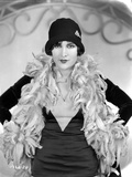 Billie Dove Posed in Black Dress with Feather Scarf Portrait