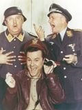 Hogan's Heroes Man in Leather Jacket with Two Men in Army Suit