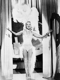 Betty Grable Posed with Hands Raised Up in Fur Headdress in White Sexy Strap Dress with Fur Bottoms