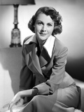 Frances Dee smiling in Formal Outfit in Black and White