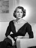 Frances Dee posed in Sexy Black Long Sleeves in Black and White
