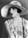 Bebe Daniels Portrait in White Brim Hat and Checkered Sleeveless Blouse