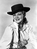 Claire Trevor Posed in White Long Sleeve with Hat