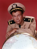 Dean Jones Portrait Leaning on a Globe in Army Uniform