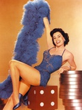 Cyd Charisse Seated in Blue Feather Shawl