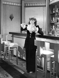 Frances Dee posed in Maid Outfit in Black and White
