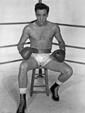 Elvis Presley in Boxing Outfit Black and White